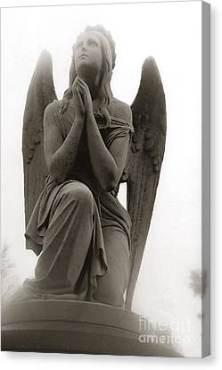 Angel Praying - Beautiful Dreamy Angel In Prayer - Praying Angel Looking To Heaven Canvas Print by Kathy Fornal