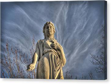 Angel Statue With Cross Canvas Print by Cat Whipple