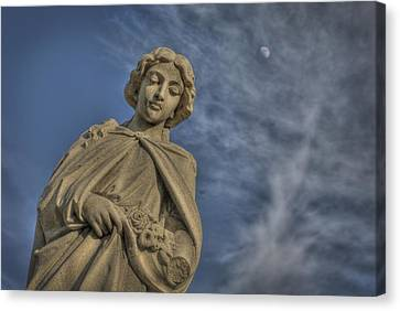 Angel Statue With Flowers Canvas Print by Cat Whipple
