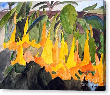 Angel Trumpets Canvas Print by Sandy McIntire