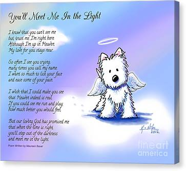 Memorial Canvas Print - Angel Westie With Poem by Kim Niles
