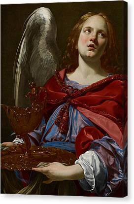 Angel With Attributes Of The Passion Canvas Print by Simon Vouet