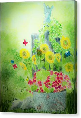 Angel With Butterflies And Sunflowers Canvas Print by Melanie Palmer