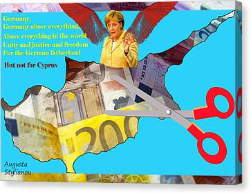 Angela Merkel Cyprus Haircut Canvas Print by Augusta Stylianou