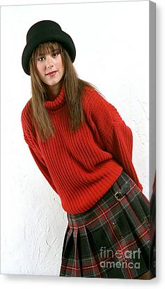 Angela Plaid Skirt Canvas Print by Gary Gingrich Galleries