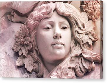 Angelic Female Face Portrait Sculpture Art Deco - Dreamy Pink Angel Face Canvas Print by Kathy Fornal