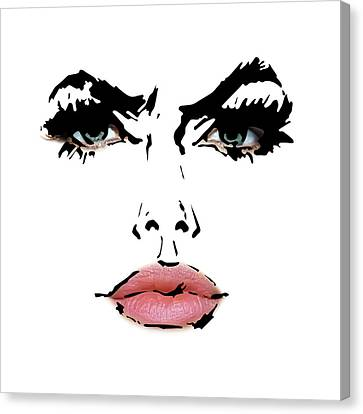 Angelina Jolie - Abstract Drawing And Reality Face  Canvas Print by Nenad Cerovic