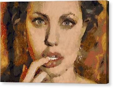 Angelina Jolie Klimt Style Digital Painting Canvas Print by Costinel Floricel