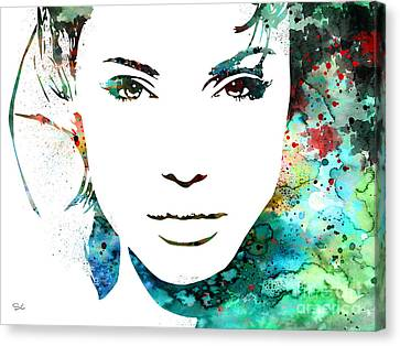 Angelina Jolie Canvas Print by Watercolor Girl
