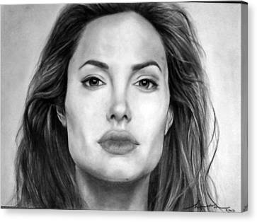Angelina Jolie Original Pencil Drawing Canvas Print by Murni Ch
