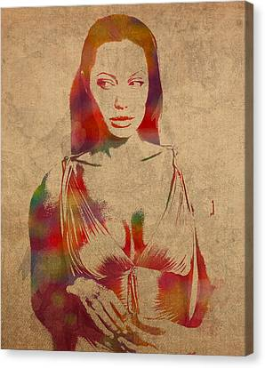 Actress Canvas Print - Angelina Jolie Watercolor Portrait Painted On Worn Distressed Canvas by Design Turnpike