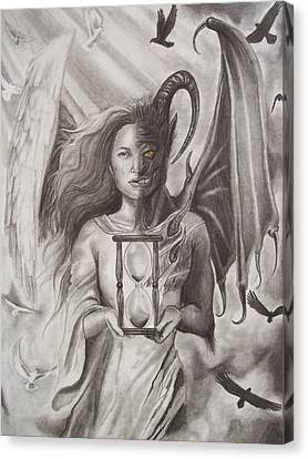 Angels And Demons Canvas Print by Amber Stanford