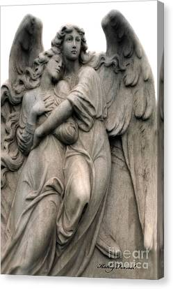 Angels Embracing - Angels Dreamy Romantic Angel Art - Guardian Angel Art  Canvas Print by Kathy Fornal
