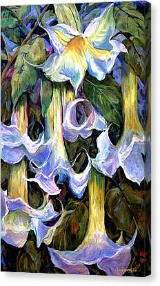 Rich Canvas Print - Angel's Trumpets - Floral Art By Betty Cummings by Sharon Cummings