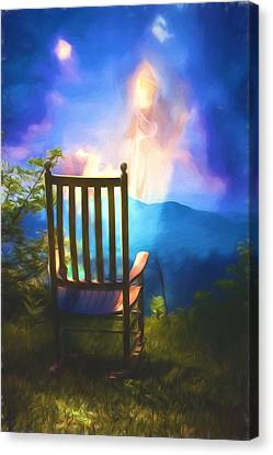 Rocking Chairs Canvas Print - Angels Watching Over Me by John Haldane