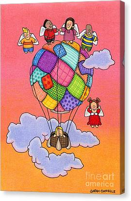 Hot Air Canvas Print - Angels With Hot Air Balloon by Sarah Batalka