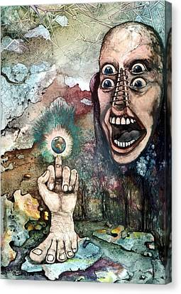 Canvas Print featuring the painting Anger Of Archon by Mikhail Savchenko
