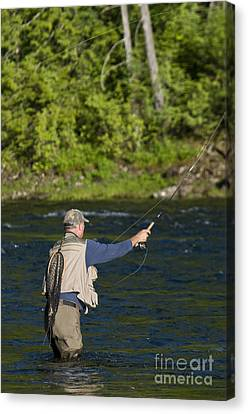Angler Fly Fishing, Kelly Creek Canvas Print by William H. Mullins
