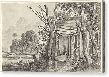 Angler In A Dilapidated Hut In A Landscape Canvas Print