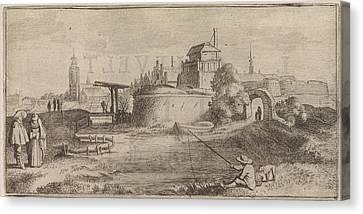 Angler In A Fortified City, Jan Van De Velde II Canvas Print by Jan Van De Velde (ii) And Cornelis Willemsz Blaeu-laken