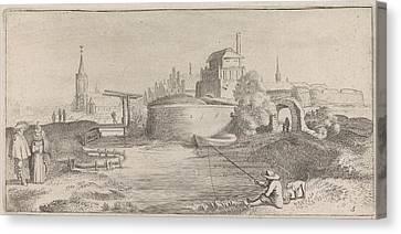 Angler In A Fortified City, Jan Van De Velde II Canvas Print by Jan Van De Velde Ii
