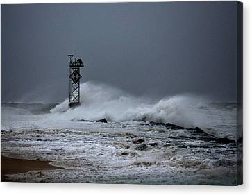 Canvas Print featuring the photograph Angry Ocean In Ocean City by Bill Swartwout
