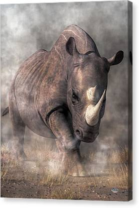Angry Rhino Canvas Print by Daniel Eskridge