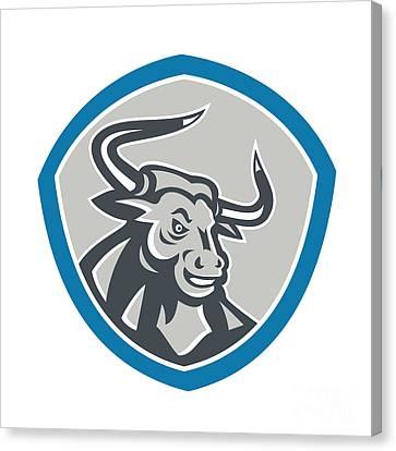 Angry Texas Longhorn Bull Shield Canvas Print by Aloysius Patrimonio