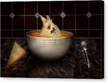 Animal - Bunny - There's A Hare In My Soup Canvas Print by Mike Savad