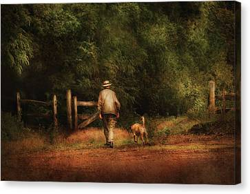 Animal - Dog - A Man And His Best Friend Canvas Print by Mike Savad