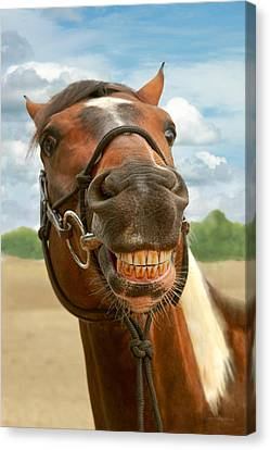 Animal - Horse - I Finally Got My Braces Off Canvas Print by Mike Savad