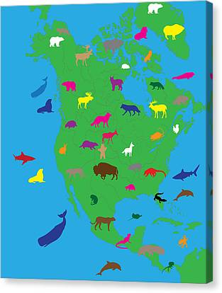 Animal Map Of North America Canvas Print by Celestial Images
