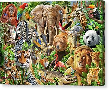 Animal Mix Canvas Print by Adiran Chesterman