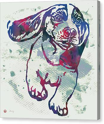 Animal Pop Art Etching Poster - Dog - 6 Canvas Print