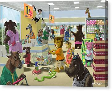Animal Supermarket Canvas Print by Martin Davey