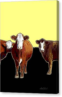 Animals Cows Three Pop Art With Yellow  Canvas Print by Ann Powell