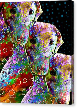 animals - dogs- Colorful Dog Collage Canvas Print by Ann Powell