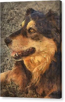 animals - dogs - Faithful Friend Canvas Print by Ann Powell