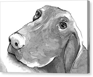 animals - dogs - Feed Me Please Canvas Print by Ann Powell
