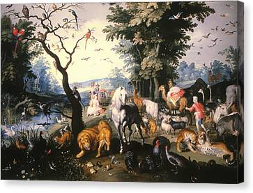 Animals Entering Noah's Ark Canvas Print by Mountain Dreams