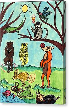 Animals In The Park Canvas Print