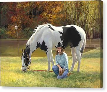 Anita And Horse Canvas Print