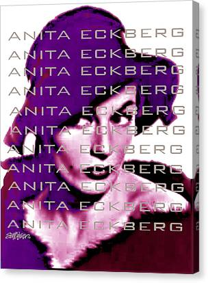 1960 Movies Canvas Print - Anita Eckberg In Wine by Seth Weaver