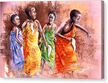 Canvas Print featuring the painting Ankara Manifest by Oyoroko Ken ochuko