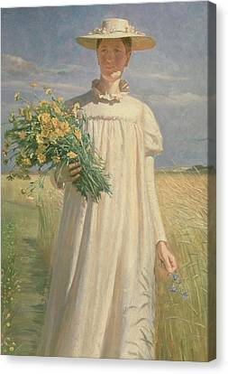 Dgt Canvas Print - Anna Ancher Returning From Flower Picking, 1902 by Michael Peter Ancher