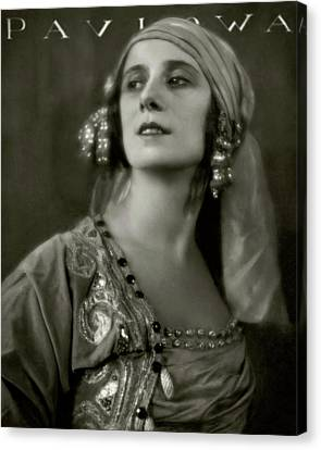 Russian-style Canvas Print - Anna Pavlova Wearing An Ornate Dress by Eugene Hutchinson