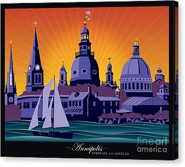Annapolis Steeples And Cupolas Canvas Print