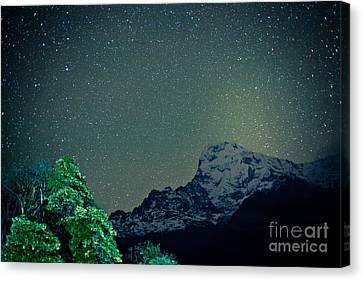 Annapurna At Night Sky In Himalayas Mountain Nepal 2014 Artmif.lv Canvas Print