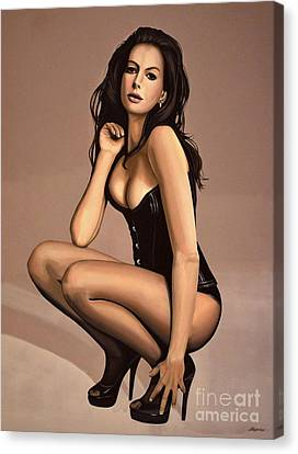 Anne Hathaway Painting Canvas Print by Paul Meijering