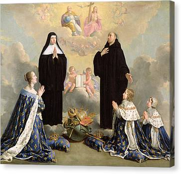 Anne Of Austria 1601-66 And Her Children At Prayer With St. Benedict And St. Scholastica, 1646 Oil Canvas Print
